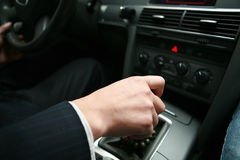 Hand control car's switching Royalty Free Stock Image