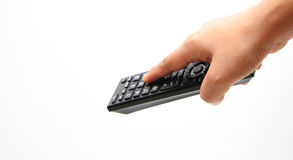 Hand control the remote isolated. Hand control the remote with whitebackground Stock Photography