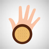 Hand and cookie dessert icon Stock Photography