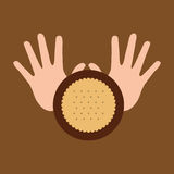 Hand and cookie dessert icon Royalty Free Stock Images