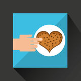 Hand with cookie ht chips chocolate Royalty Free Stock Photo