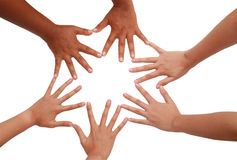 Hand coordination Teamwork and team spirit. Hand coordination ,Multiracial hands holding each other in unity Royalty Free Stock Photo