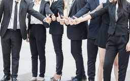 Hand coordination togetherness of bussness people team, cooprati. On and team work in office Stock Images