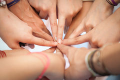 Hand coordination. Used together, the harmonization of teamwork in the workplace Stock Photography
