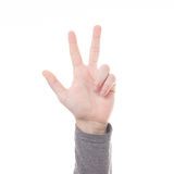 Hand count sign three finger isolated Stock Photo