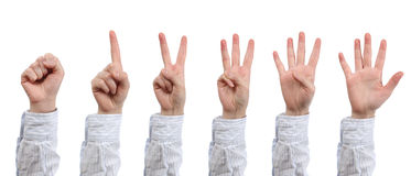 Hand count zero to five Stock Image