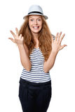 Hand counting - eight fingers Royalty Free Stock Image