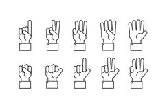Hand with counting fingers vector line symbols. Human hand and finger gesture symbol illustartion Stock Photos