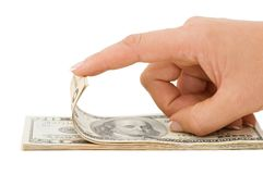 Hand counting money isolated on white background Stock Image