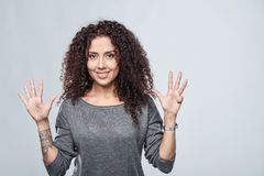 Hand counting - nine fingers. Stock Photos