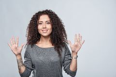 Hand counting - nine fingers. Royalty Free Stock Photo