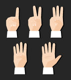 Hand counting signs. Hand counting finger signs set vector illustration Stock Photos
