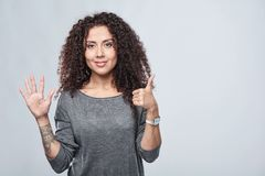 Hand counting - six fingers. Royalty Free Stock Photo