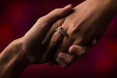 Hand. Couple hand and ring love. It is sweetheart background royalty free stock photography