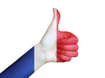 Hand covered in flag of France Royalty Free Stock Photos