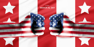 Hand covered in flag of USA Royalty Free Stock Images