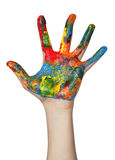Hand covered in paint