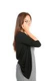 Hand Covering Face Eye Peeking Finger Asian Woman Stock Photography
