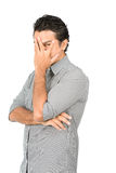 Hand Covering Face Eye Peeking Fingers Latino Man Royalty Free Stock Photography
