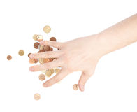 Hand covering over the pile of coins Royalty Free Stock Photo