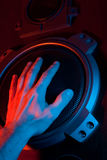 Hand covers the speaker Royalty Free Stock Image