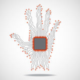 Hand. Cpu. Circuit board Stock Image