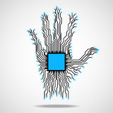 Hand. Cpu. Circuit board Royalty Free Stock Photography
