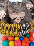 Hand craft market. Hand made eco toys, sold in the market by kids Stock Image