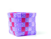Hand craft plastic basket  on white Stock Photos