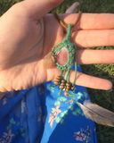 Hand crafted art i made. Hand crafted dreamcatcher daze necklace royalty free stock photo
