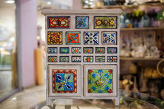 Hand crafted colorfull wooden cupboard Royalty Free Stock Photography