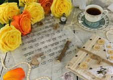 Free Hand Crafted Diary Book, Music Sheet Notes, Cup Of Black Tea And Yellow Roses Royalty Free Stock Photo - 119942595