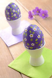 Hand crafted easter eggs on the wooden  table Stock Image