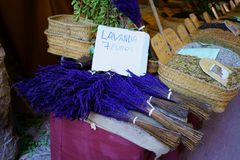 Hand-crafted fragrant Lavender bunch in a Mediterranean market. stock images