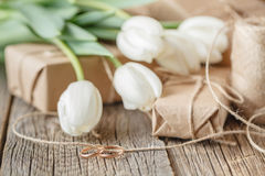 Hand crafted gift box and tulips stock image