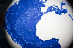 Hand crafted globe with painted ocean Stock Image