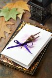 Hand Crafted Greeting Card with Dried Lavender Royalty Free Stock Photos
