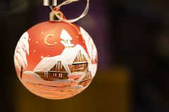 Hand crafted/ painted christmas ornament. A christmas ornament in one of the many shops of Garmisch stock images