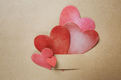 Hand-crafted paper hearts Stock Photos