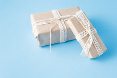 Hand crafted present boxes stock images