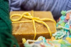 Hand Crafted Soap and Yarn stock images