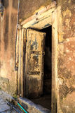 Hand crafted wooden door at Zanzibar Royalty Free Stock Photo