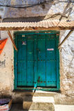 Hand crafted wooden door at Zanzibar Royalty Free Stock Image