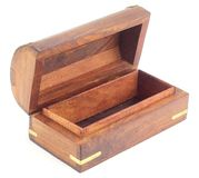 Hand Crafted Wooden  treasure chests Box Royalty Free Stock Photo
