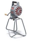 Hand crank fire siren. On white background - 3D illustration Stock Images