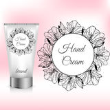 Hand Cream Packaging with Amaryllis Wreath Stock Image