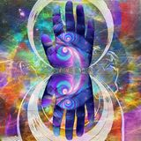 Hand of Creator. Colorful human palm. Mirrored round fractal with figure of running man on background. Human elements were created with 3D software and are not Stock Photography