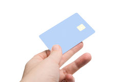 Hand with credit card. Isolated on white (focus on card stock photography