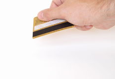 Hand with credit card. Man's Hand Holding Credit Card Royalty Free Stock Image