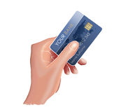 Hand and a credit card. Hand holding a credit card with a fake serial number and logo Royalty Free Stock Photos